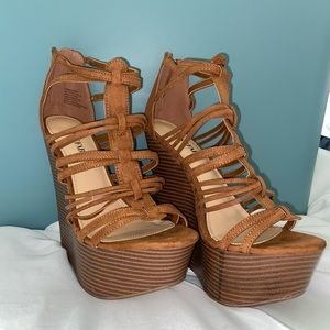 Just Fab Congac Platform Wedge Sandals